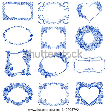 Set of Vintage Christmas and New Year frames. Celebration background with snowflake and place for your text. Vector Illustration  - stock vector