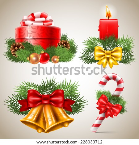 Set of vintage Christmas icons. Vector illustration  - stock vector