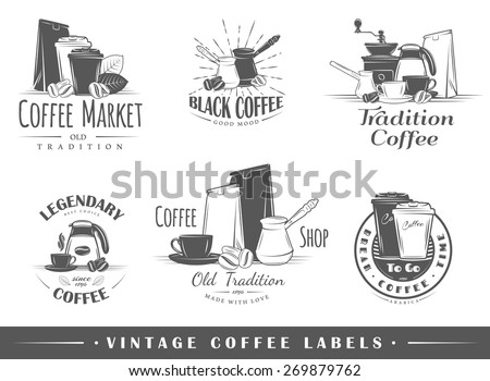 Set of vintage coffee labels. Posters, stamps, banners and design elements. Vector illustration - stock vector