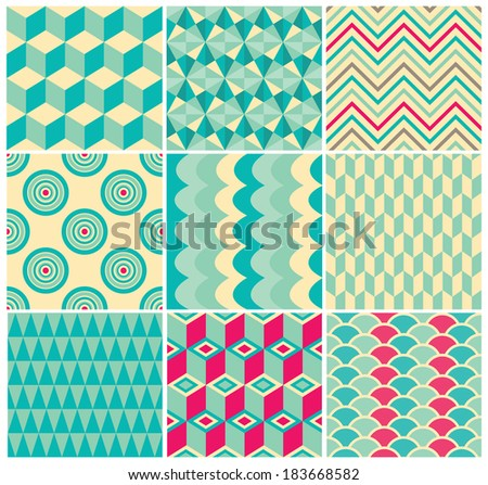 Set of Vintage Colorful Seamless Geometric Backgrounds