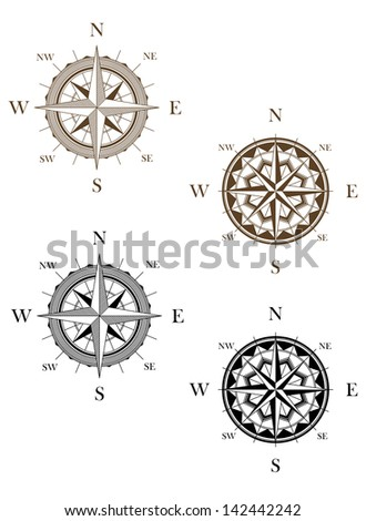 Set of vintage compass signs for travel or another design. Jpeg version also available in gallery  - stock vector