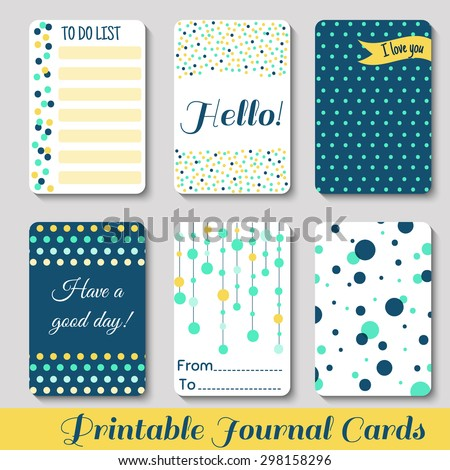 Set of Vintage Creative Cards with Hand Drawn Polka Dots Textures. Templates for Placards, Posters, Flyers and Banner Designs, Printable Journals Card. Vector - stock vector