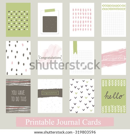 Set of Vintage Creative Cards with Hand Drawn Textures. Templates for Placards, Posters, Flyers and Banner Designs, Printable Journals Card. Vector - stock vector