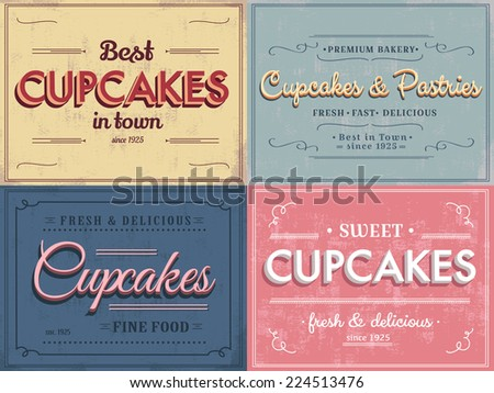 Set of vintage cupcakes labels - stock vector
