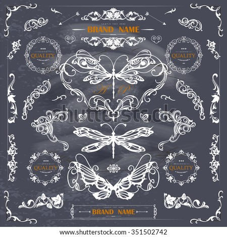Set of Vintage Decorations Elements.Flourishes Calligraphic Ornaments and Frames with place for your text. Retro Style Design Collection for Invitations, Banners, Posters, Badges,Logotypes and so on - stock vector
