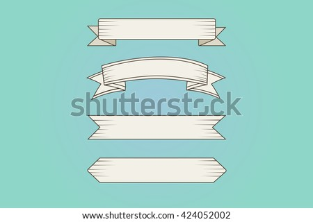 Set of vintage decorative ribbon style engraving. Handmade drawing. Vector Illustration - stock vector
