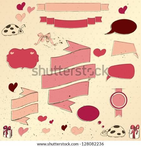 Set of vintage deign elements about love. Vector illustration EPS10 - stock vector
