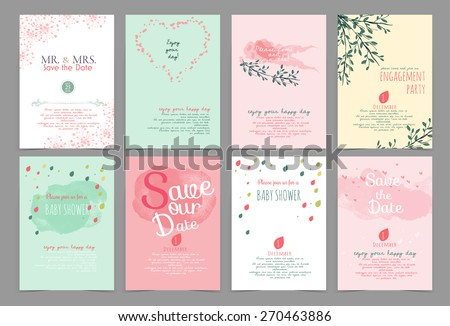 set of vintage design element ,background,pattern ,monogram for use as invitation card ,birthday,valentine's day,party invitation,wedding