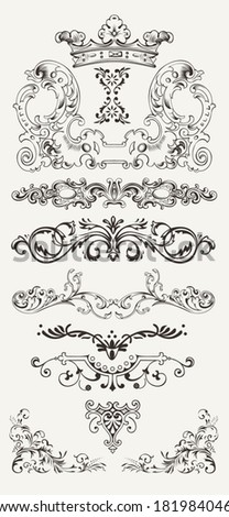 Set Of Vintage Design Elements And Borders - stock vector