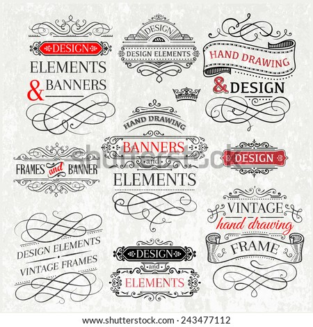 set of vintage design elements and frames. file grouped and layered.  - stock vector