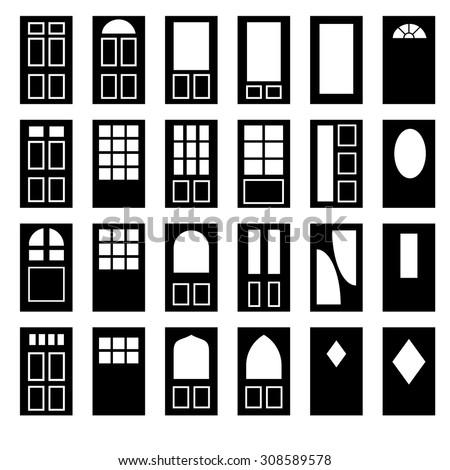 Set vintage doors windows pattern design stock vector for Window design vector