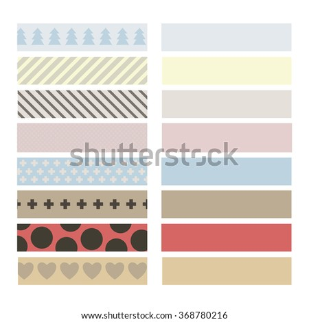 SET OF VINTAGE DUCT TAPE WITH VARIANT PATTERNS ON THE WHITE BACKGROUND. STOCK VECTOR.  - stock vector