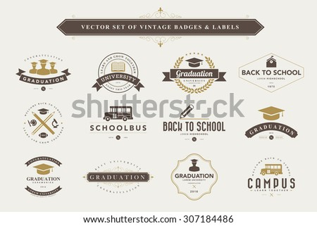 Set of vintage education badges and labels - stock vector