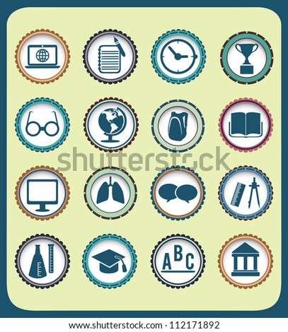 Set of vintage education icons - vector illustration