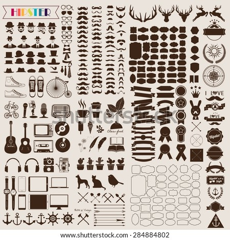 Set of vintage elements and icons retro for hipster style design. Illustration eps10 - stock vector