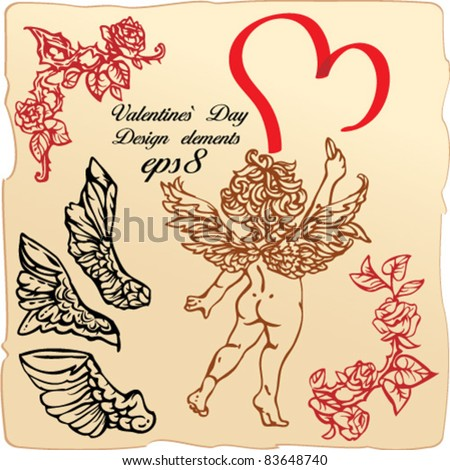 Set of vintage elements and vignettes for Valentine`s Day greeting - heart, roses, angels wings, cupid - stock vector
