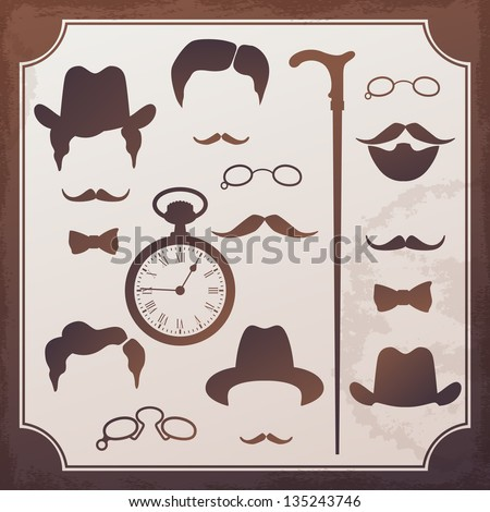 Set of vintage elements for design. Style of 1900s - stock vector