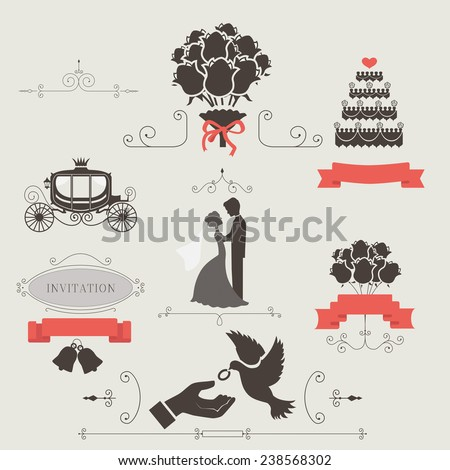 Set of vintage elements for wedding invitation vector - stock vector