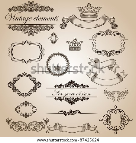 set of vintage elements for your design - stock vector