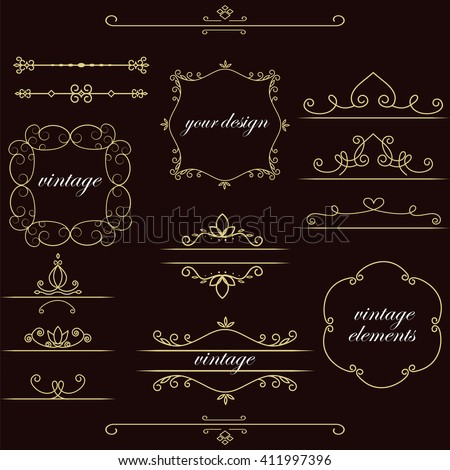 Set of vintage elements. Vector vintage frames for your design. Place for text, cover, brand name of the restaurant , menu design. Making your logo and monogram. - stock vector