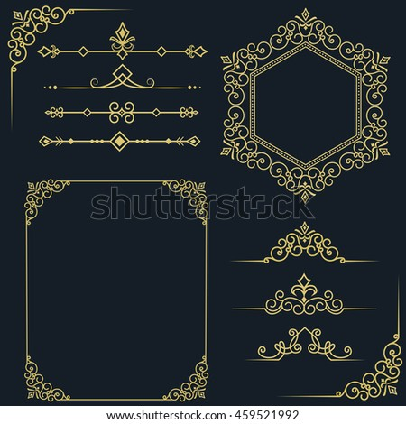 Set of vintage elements. Vector vintage frames for your design. Place for text, cover, brand name of the restaurant , menu design. Making your logo and monogram - stock vector