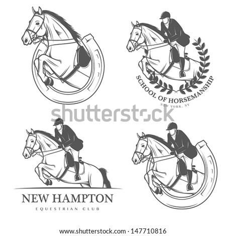 Set of vintage equestrian labels and badges - stock vector
