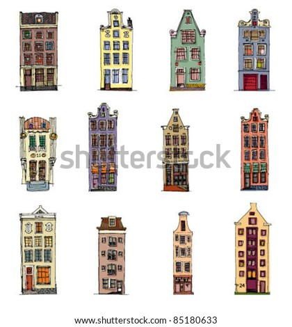 set of vintage facades - stock vector