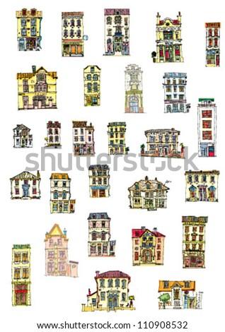 set of vintage facades - light tone cartoon - stock vector