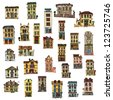 set of vintage facades - London - cartoon - stock vector