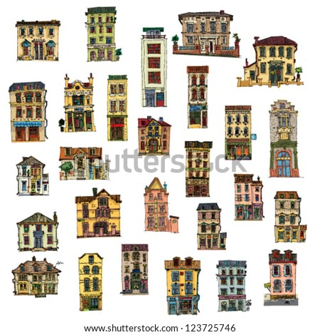 set of vintage facades - London - cartoon - stock vector