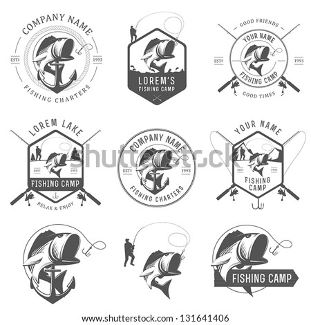Set of vintage fishing labels, badges and design elements - stock vector