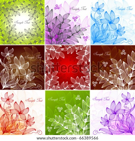 Set of vintage floral backgrounds - stock vector