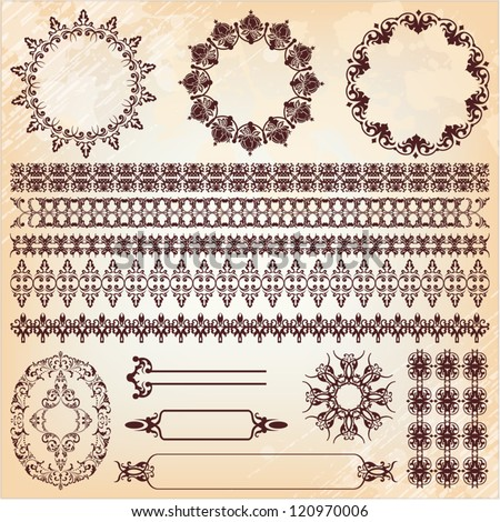 set of vintage floral pattern design elements