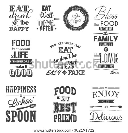 Set of vintage food typographic quotes. Grunge effect can be edited or removed.. Vector EPS8 illustration.  - stock vector