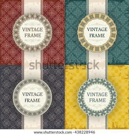 Set of Vintage frame  - stock vector