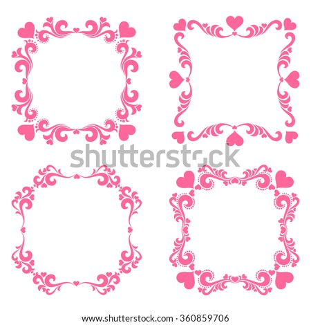 Set of Vintage frame.  Valentine decoration set - lots of calligraphic elements, bits and pieces to embellish your holiday layouts. Collection of  design elements isolated on White background.  - stock vector