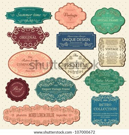 Set of vintage frames - stock vector
