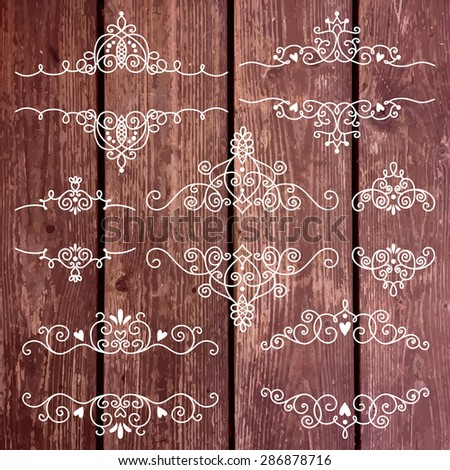 Set of vintage frames and elements for invitation or greeting card. Wood texture, vector background. Template for text or photo. - stock vector