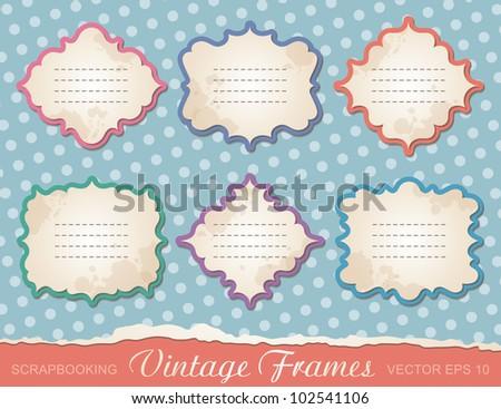 set of vintage frames, design elements for scrap-booking - stock vector