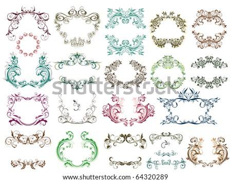 Set of vintage frames for design - stock vector