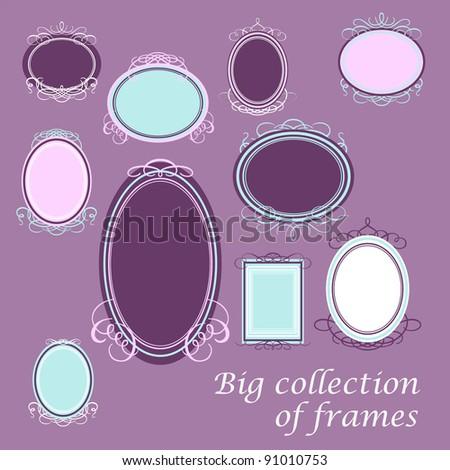 Set of vintage frames for your design. Vector. - stock vector