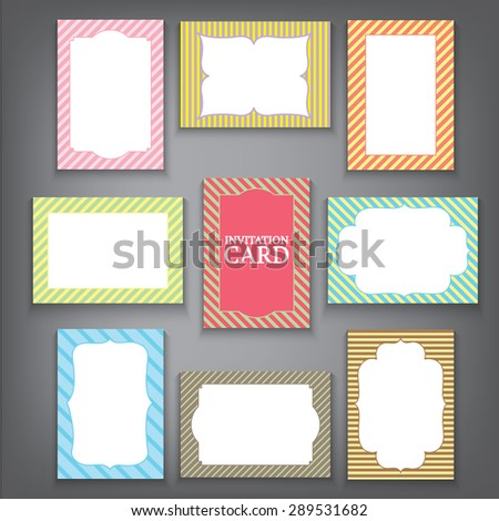 Set of vintage frames, Greeting cards, Wedding invitations, Retro parties, Lines background, A4 A5 size, Vector labels Illustration EPS 10. - stock vector