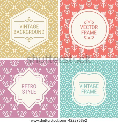 Set of vintage frames in Gold, Red, Pink, Turquoise and Beige on mono line seamless background. Perfect for greeting cards, wedding invitations, retro parties. Vector labels and badges - stock vector