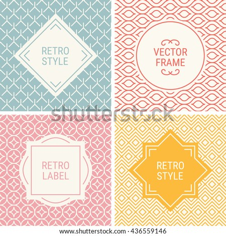 Set of vintage frames in Grey, Red, Pink Yellow and Beige on mono line seamless background. Perfect for greeting cards, wedding invitations, retro parties. Vector labels and badges - stock vector