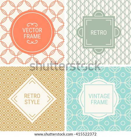 Set of vintage frames in Orange, Grey, Gold, Turquoise and Beige on mono line seamless background. Perfect for greeting cards, wedding invitations, retro parties. Vector labels and badges - stock vector