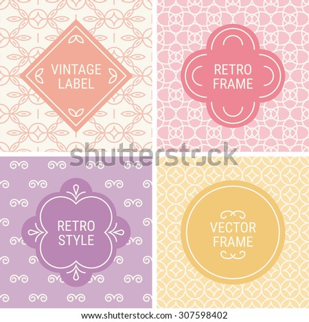 Set of vintage frames in Pink, Violet, Yellow and Beige on mono line seamless background. Perfect for greeting cards, wedding invitations, retro parties. Vector labels and badges - stock vector