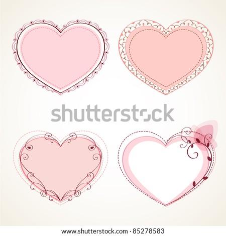 Set of vintage frames in shape of a heart. Element for design. - stock vector