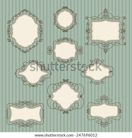 set of vintage frames on striped background  - stock vector