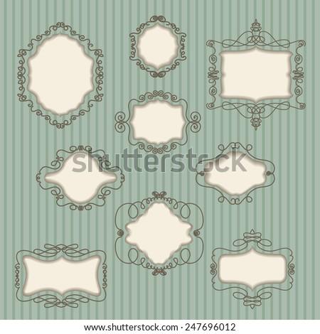 set of vintage frames on striped background  - stock vector