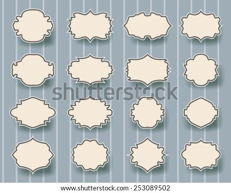 set of vintage frames on striped retro background - stock vector